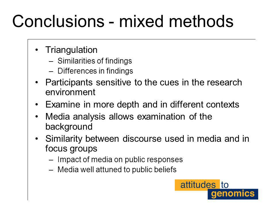 Conclusions - mixed methods