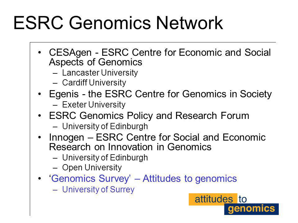 ESRC Genomics Network CESAgen - ESRC Centre for Economic and Social Aspects of Genomics. Lancaster University.