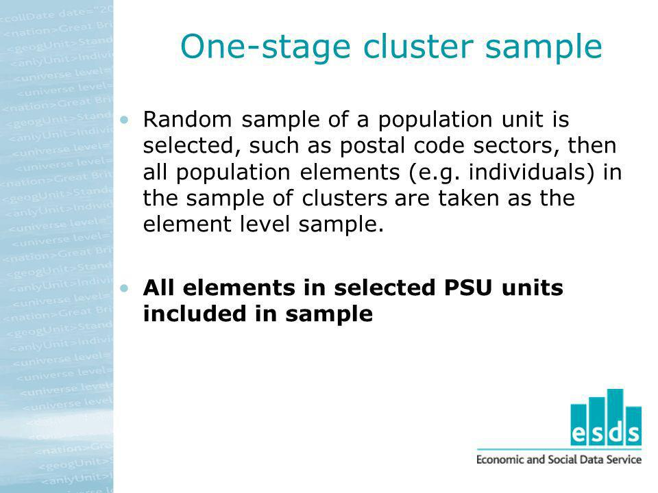 One-stage cluster sample