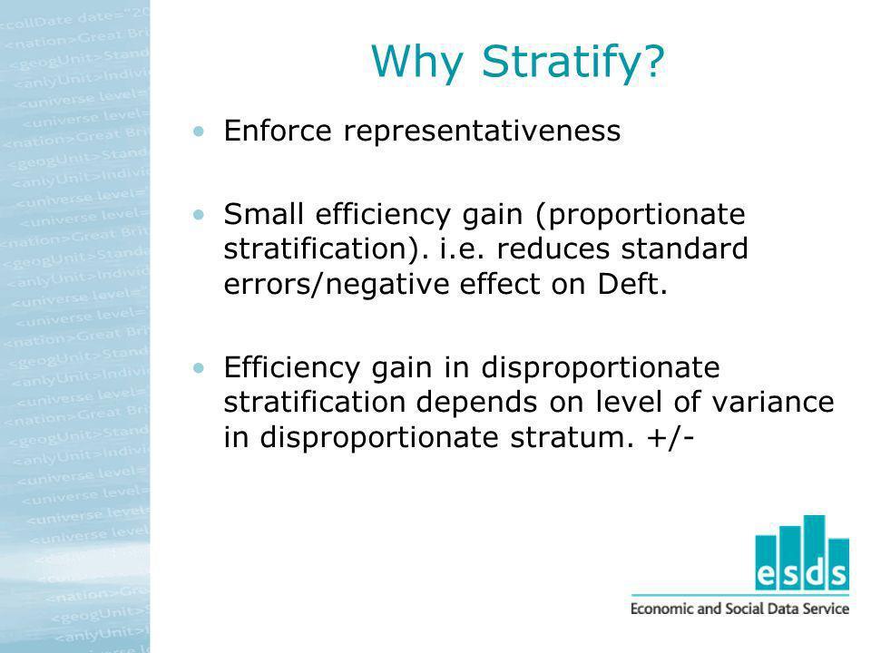 Why Stratify Enforce representativeness