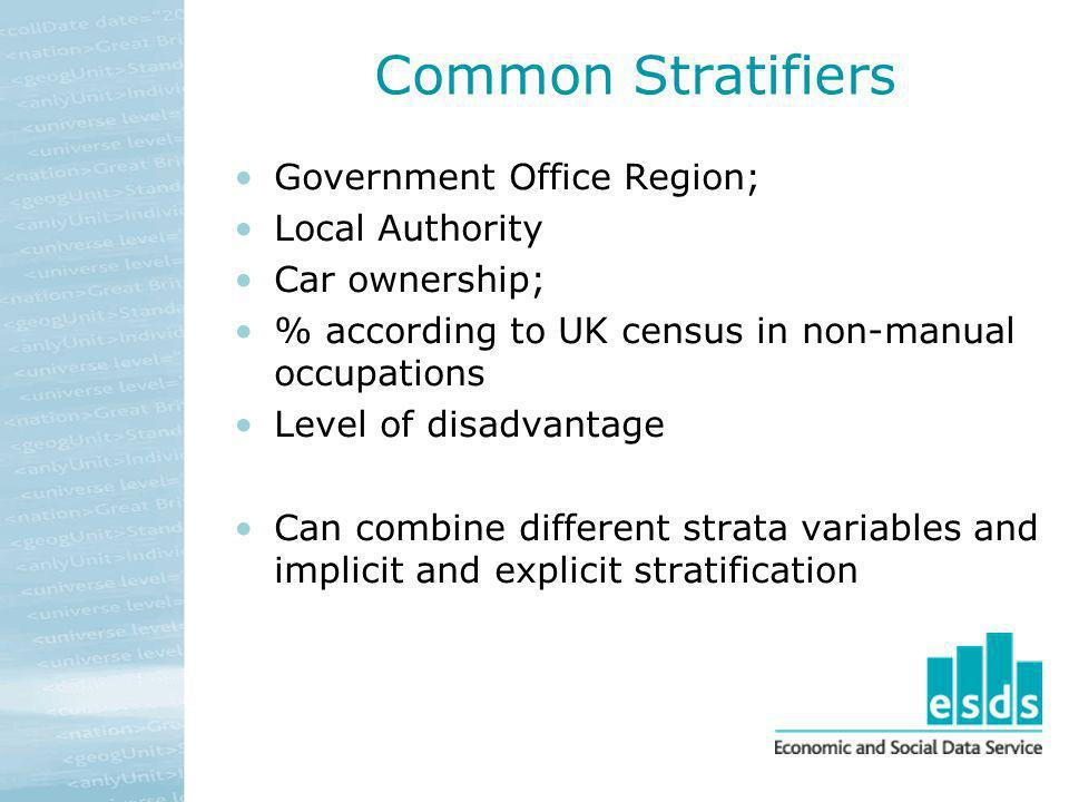 Common Stratifiers Government Office Region; Local Authority