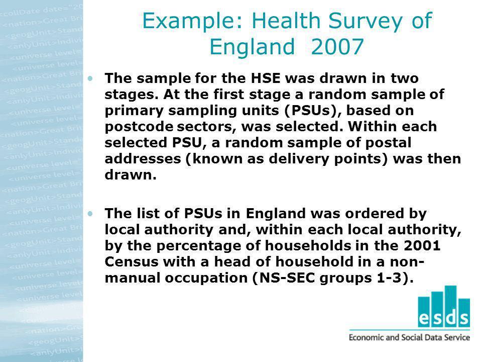 Example: Health Survey of England 2007