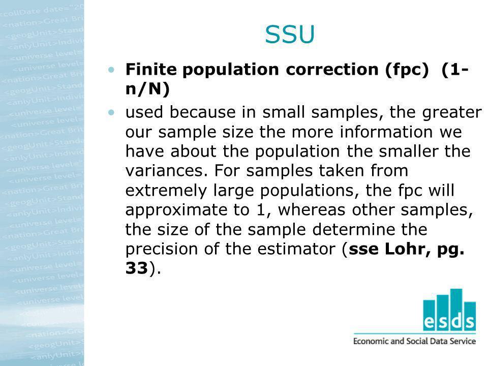 SSU Finite population correction (fpc) (1-n/N)