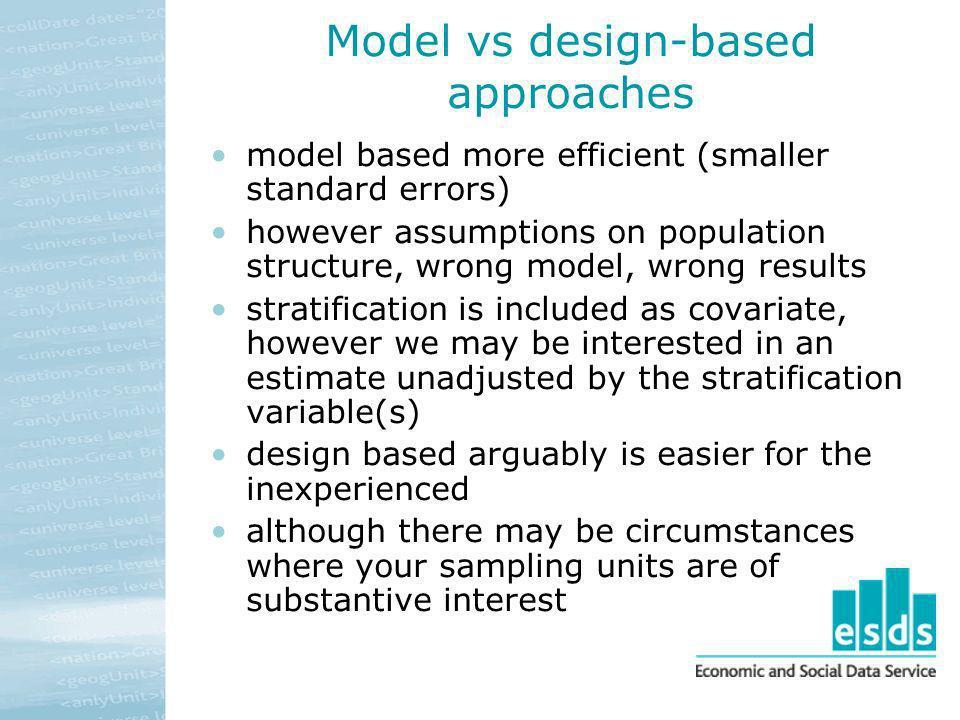 Model vs design-based approaches