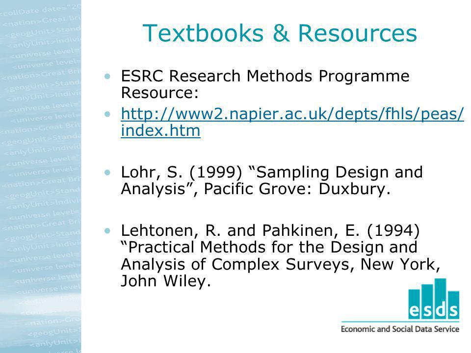 Textbooks & Resources ESRC Research Methods Programme Resource: