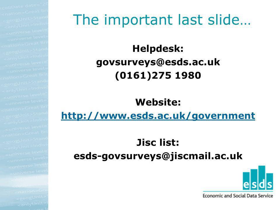 The important last slide…