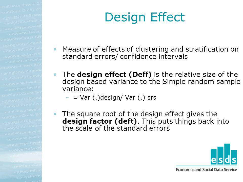 Design Effect Measure of effects of clustering and stratification on standard errors/ confidence intervals.