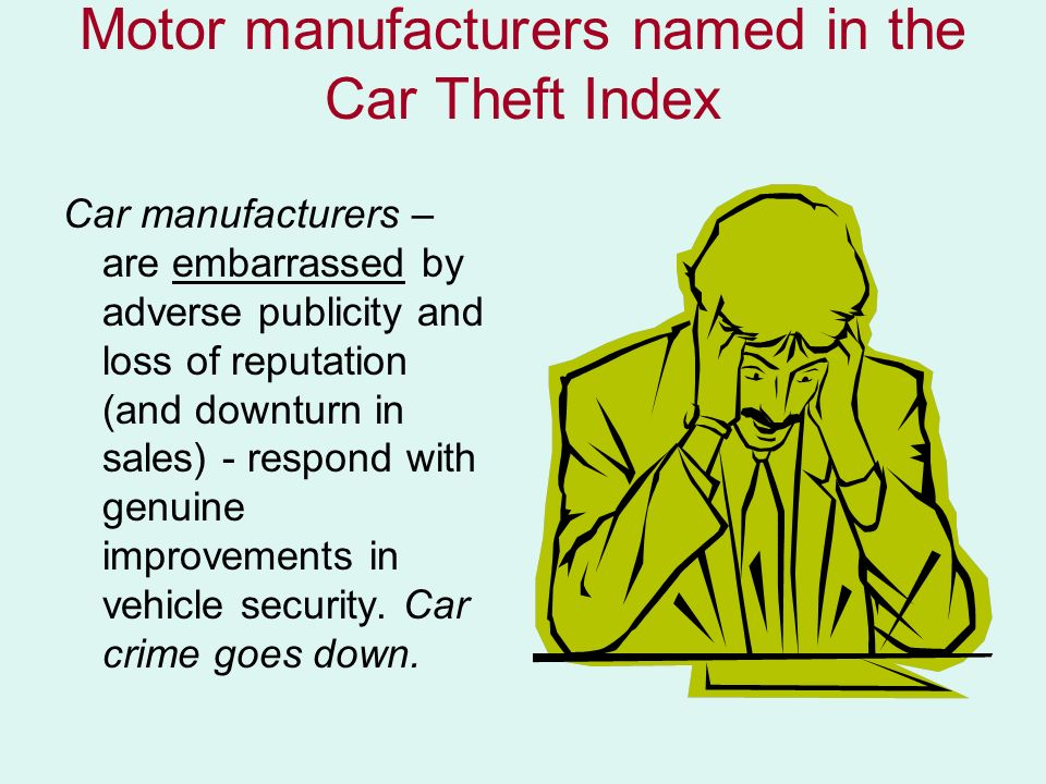 Motor manufacturers named in the Car Theft Index