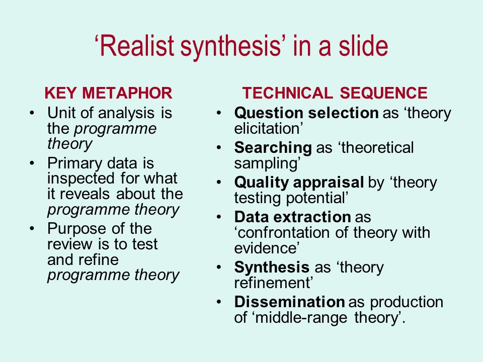 'Realist synthesis' in a slide