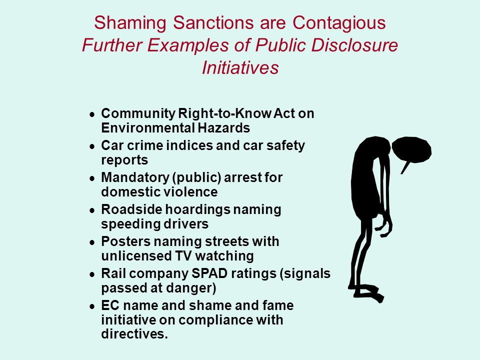 Shaming Sanctions are Contagious Further Examples of Public Disclosure Initiatives
