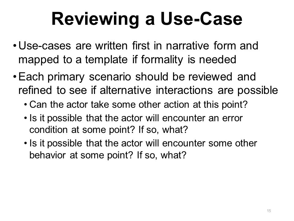 Chapter 9 requirements modeling for Use case narrative template doc