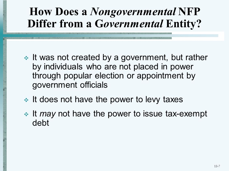 contrast governmental accounting with nongovernmental accounting Accounting for governmental and nonprofit entities problem 45eq: contrast the statement of cash flows that nongovernmental no.