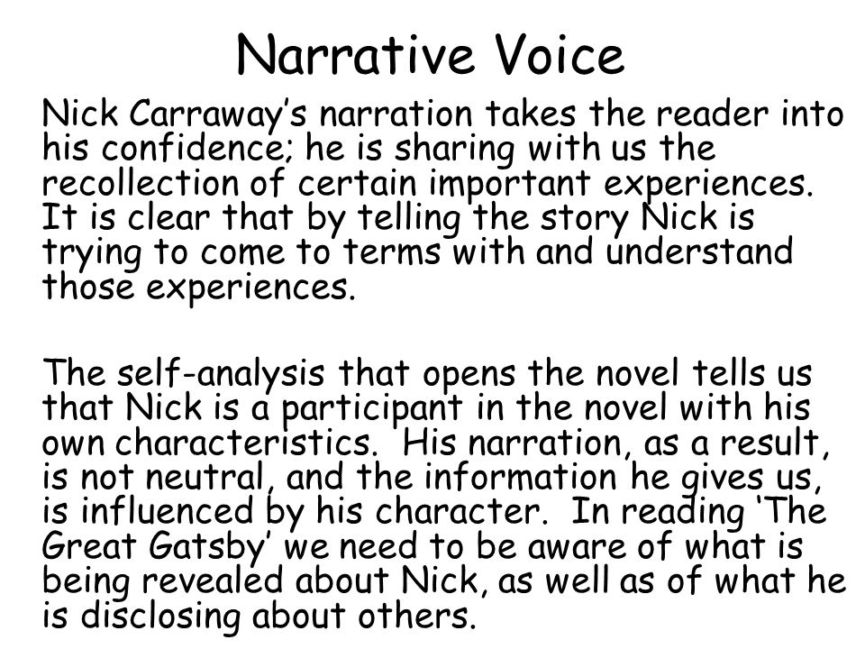 An analysis of the novel the great gatsby and the story nick carraway tells in it