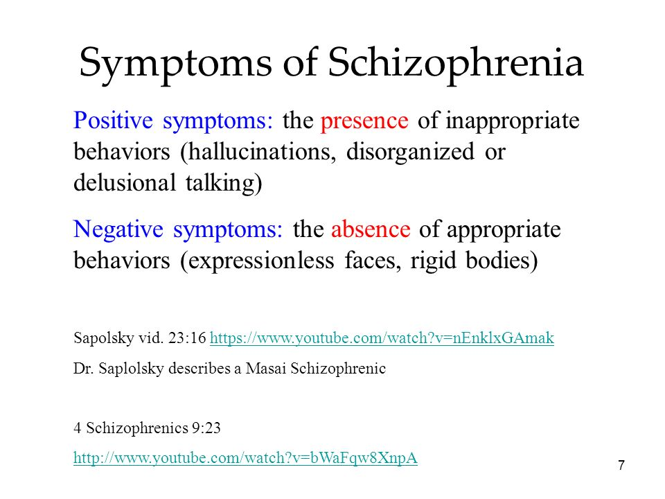 positive and negative characteristics of schizophrenic behavior The symptoms of schizophrenia are often classified as positive (symptoms  including delusions, hallucinations, and bizarre behavior), negative (symptoms.