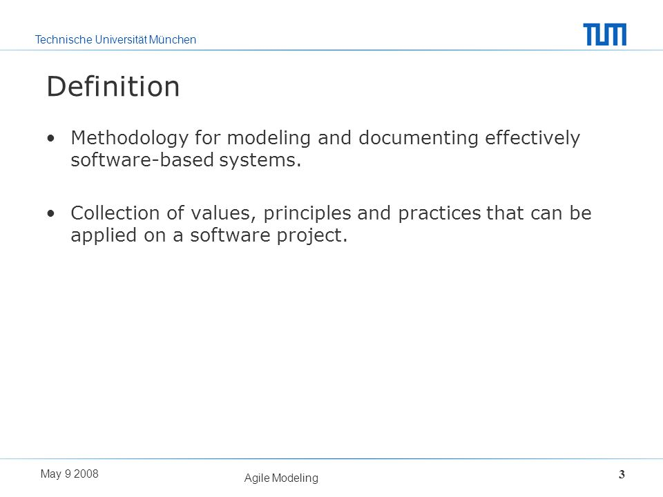 Definition Methodology for modeling and documenting effectively software-based systems.