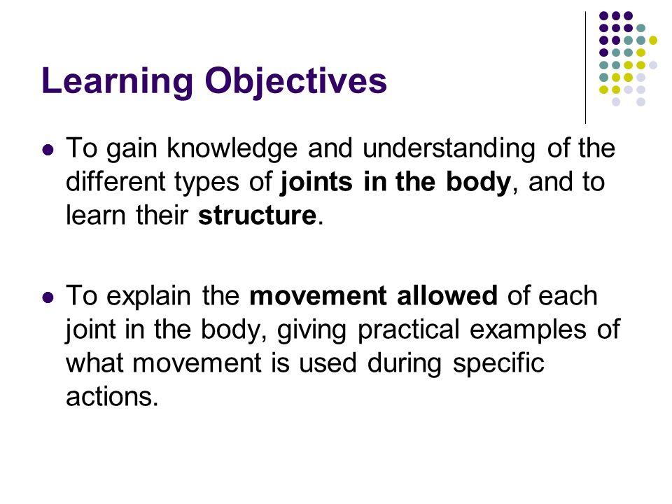 Learning Objectives To gain knowledge and understanding of the ...