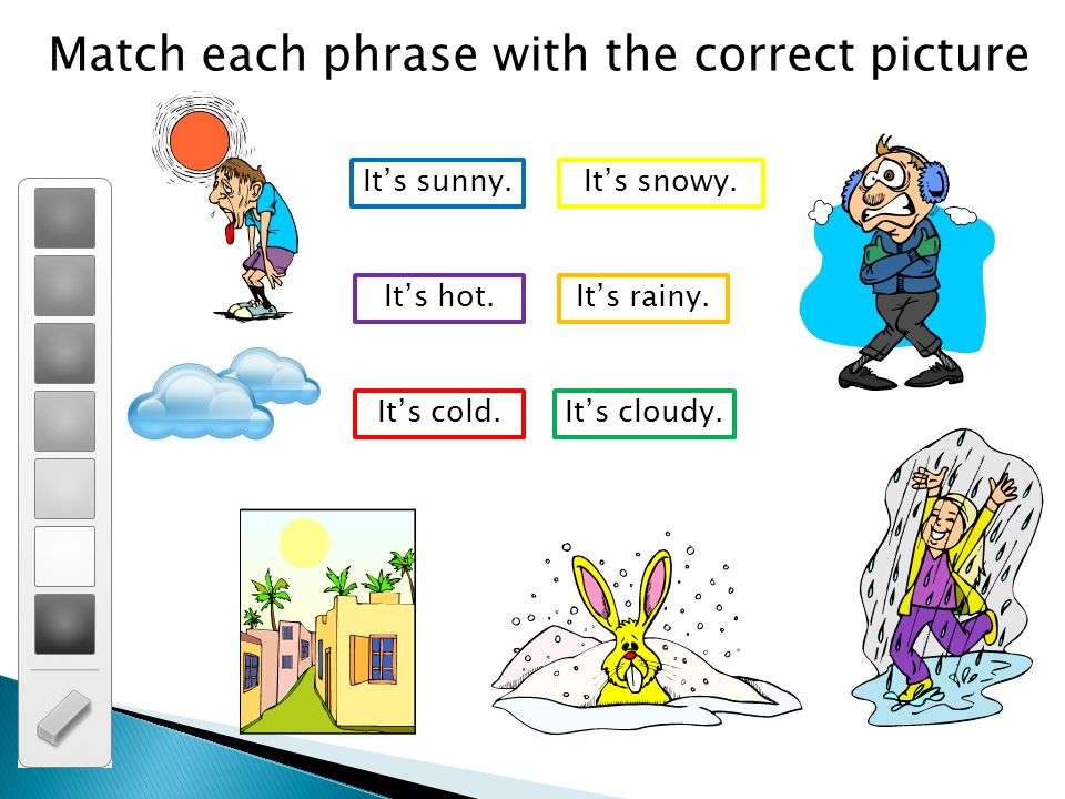 Match each phrase with the correct picture