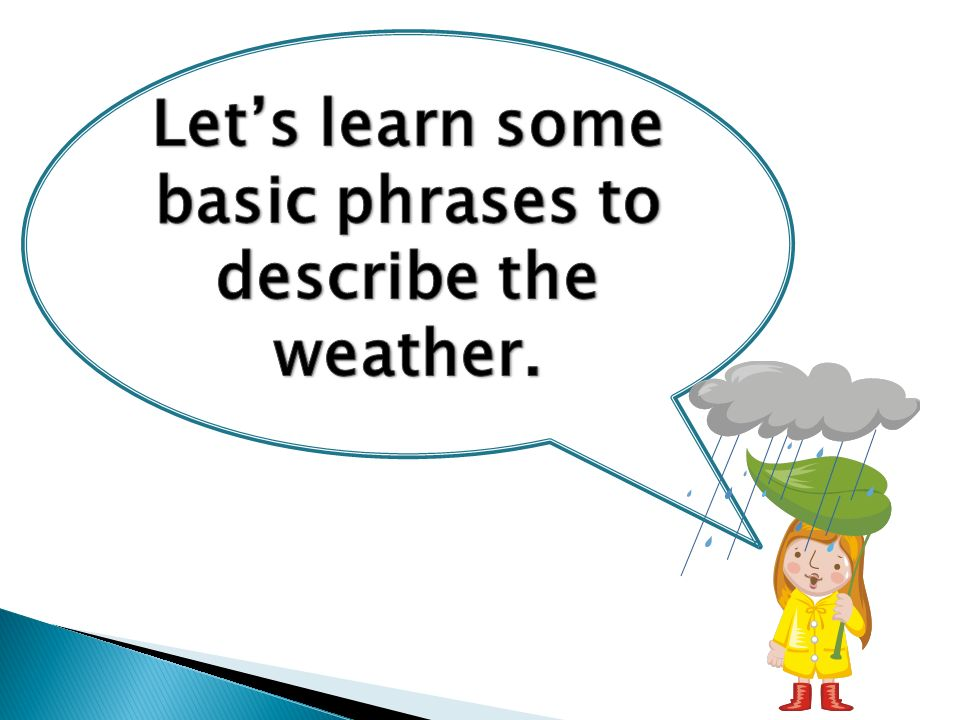 Let's learn some basic phrases to describe the weather.