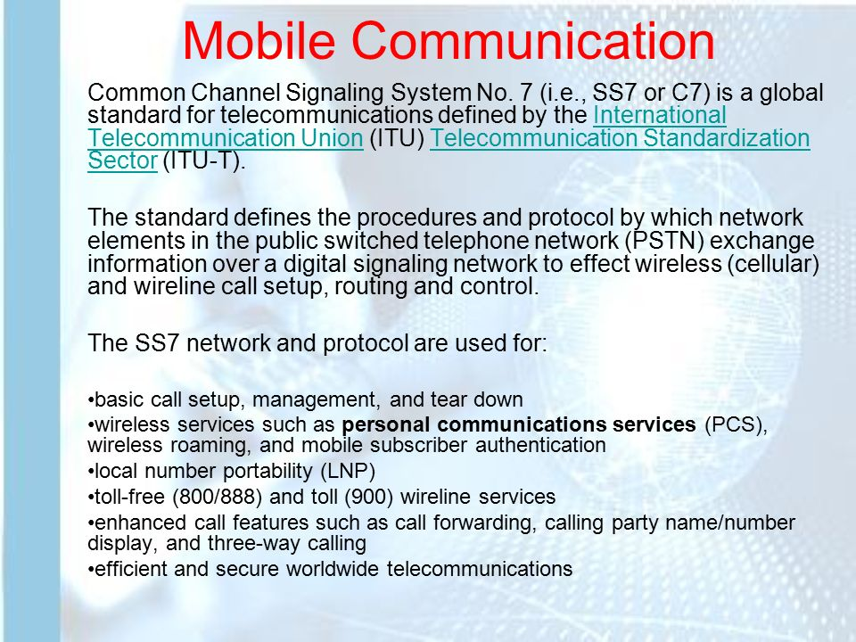 Mobile communication common channel signaling system no 7 ie 1 mobile communication publicscrutiny Images
