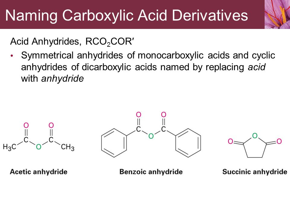 carboxylic acid and derivatives 86 167 202: structure and reactivity of carboxylic acid derivatives increasing reactivity rcl c o rn c o ro c o c r' o r' amide ester acid anhydride acid chloride.