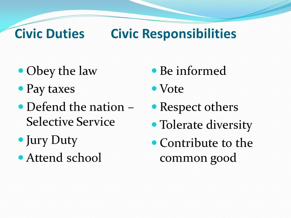 civic responsibilites Emcc's definition of social, civic, and global responsibility recognize, understand, and demonstrate awareness of diverse viewpoints surrounding social, civic and global issues.