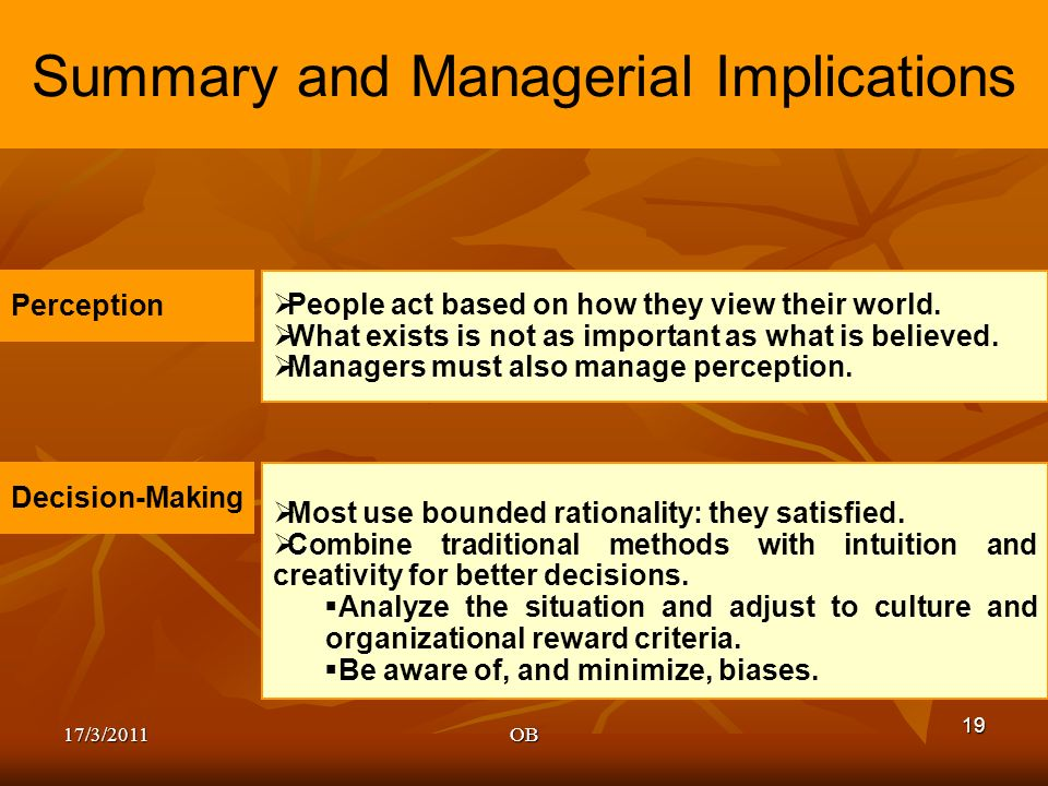 Managerial implications of perception