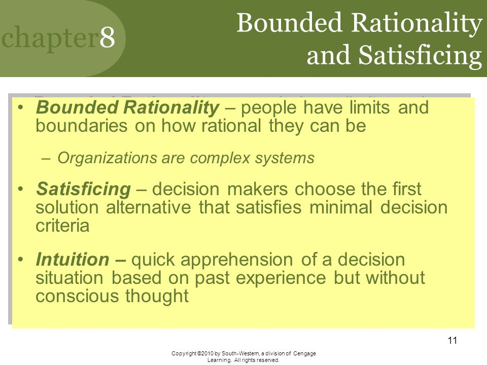 bounded rationality Abstract findings from behavioral organization theory, behavioral decision theory, survey research, and experimental economics leave no doubt about the failure of rational choice as a.