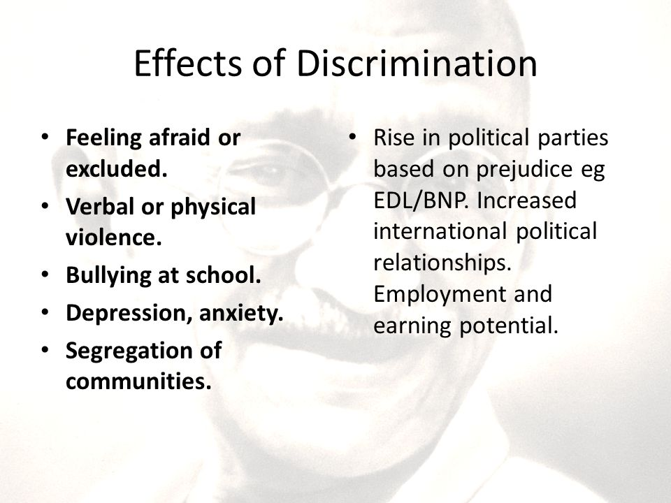the effects of prejudice in to The impact of emotional recognition on prejudice and discrimination 2 abstract: prejudice is a negative, generalized attitude towards a particular group of people.