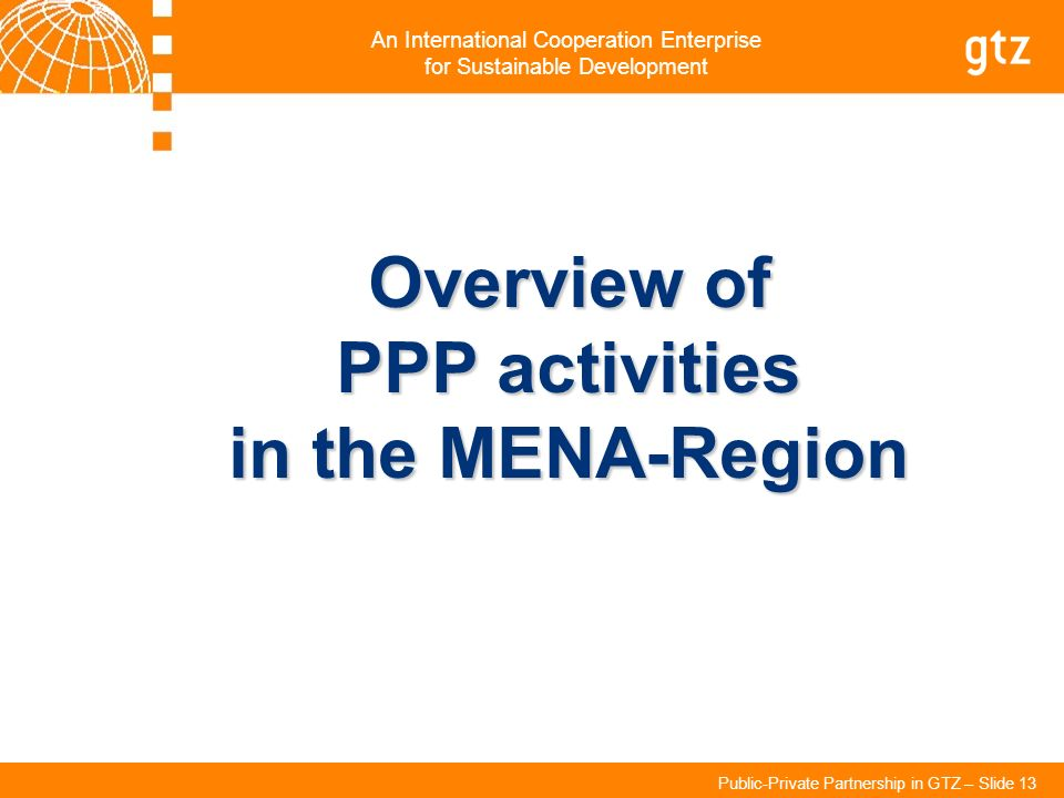 Overview of PPP activities in the MENA-Region