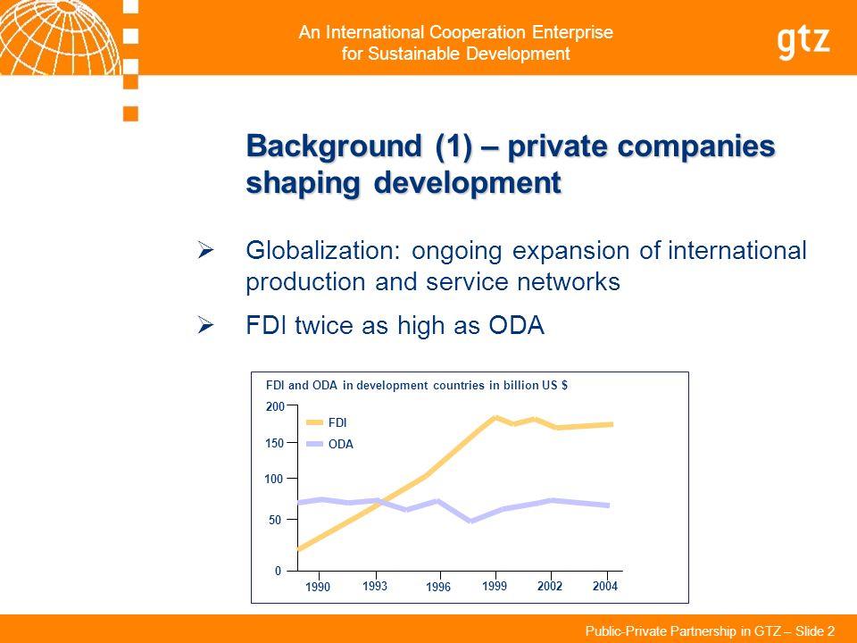 FDI and ODA in development countries in billion US $