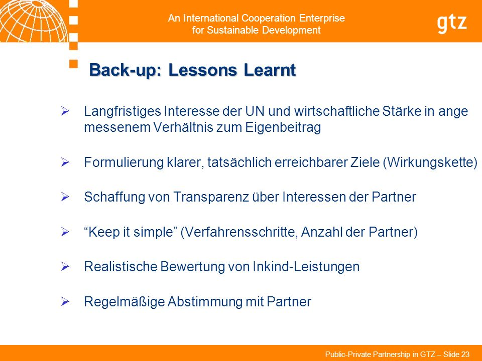 Back-up: Lessons Learnt