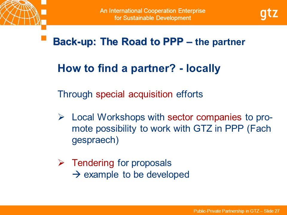 Back-up: The Road to PPP – the partner
