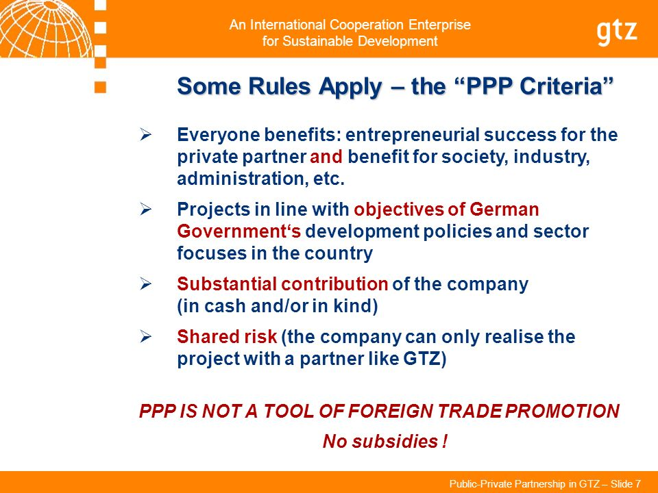 Some Rules Apply – the PPP Criteria