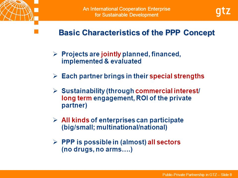 Basic Characteristics of the PPP Concept