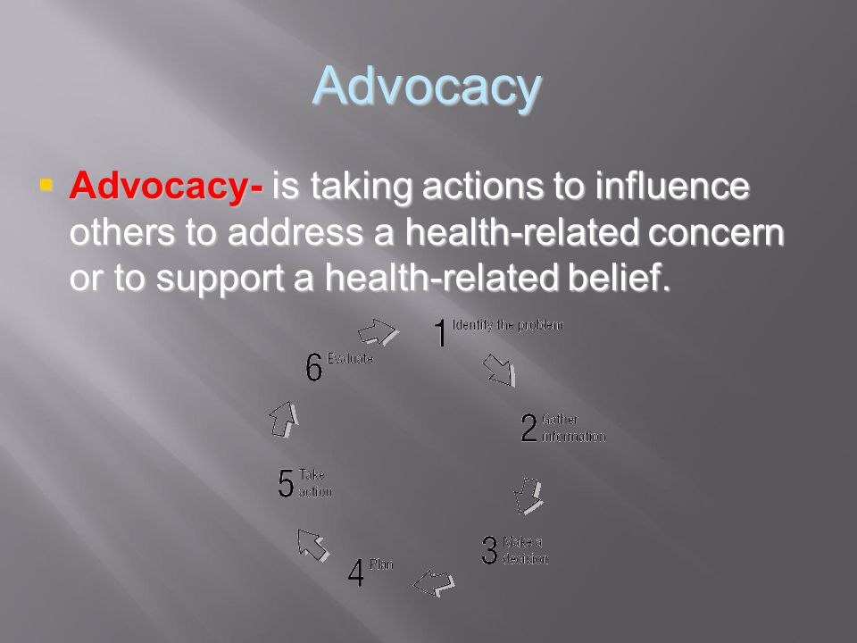 Advocacy Advocacy- is taking actions to influence others to address a health-related concern or to support a health-related belief.