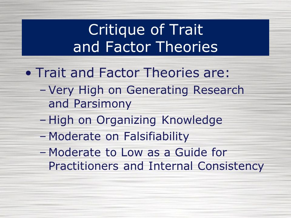 research in theories of personality Personality theories are rooted in the field of psychology personality theory is rich in complexity and variety the classical approaches to personality theory are: psychoanalytic theory as.