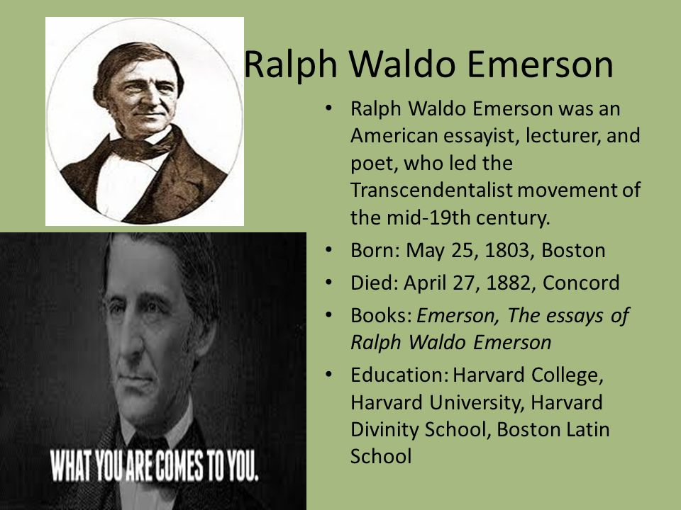 """trascendentalism and ralph waldo emerson essay Nature quotes (showing 1-30 of 101) """"the happiest man is he who learns from nature the lesson of worship"""" ― ralph waldo emerson, nature."""