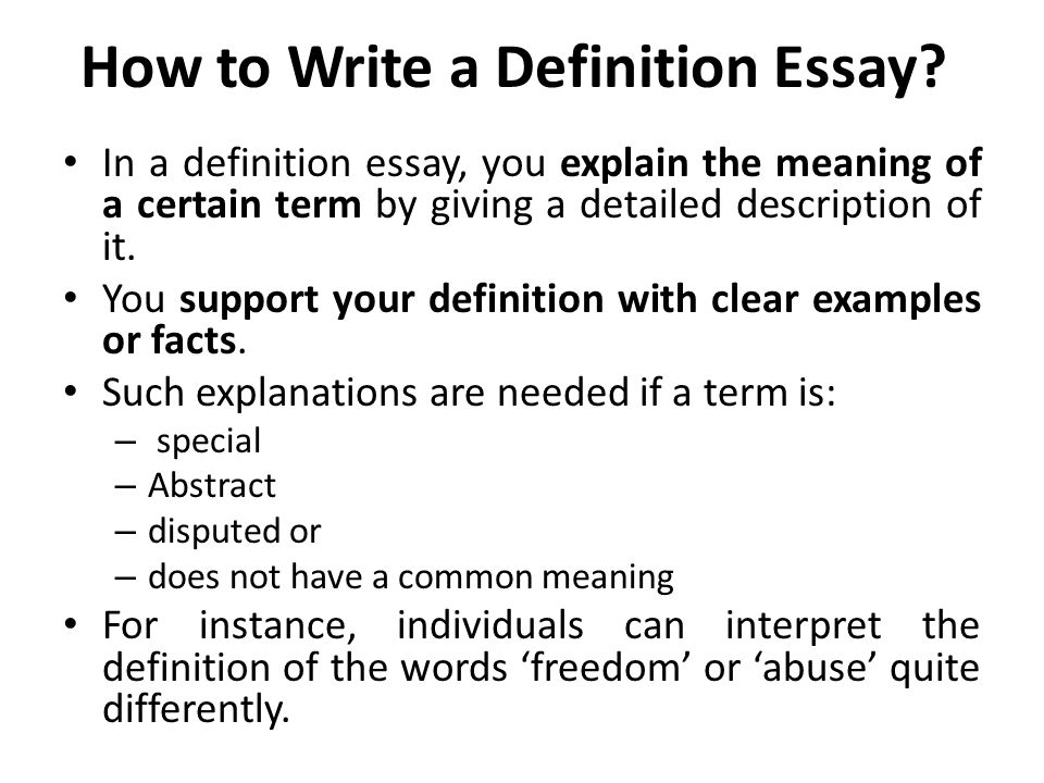 define a word essay Writing a definition essay: step by step  analyze the different ways people define this word 6 use my instructions below to organize and write your essay.