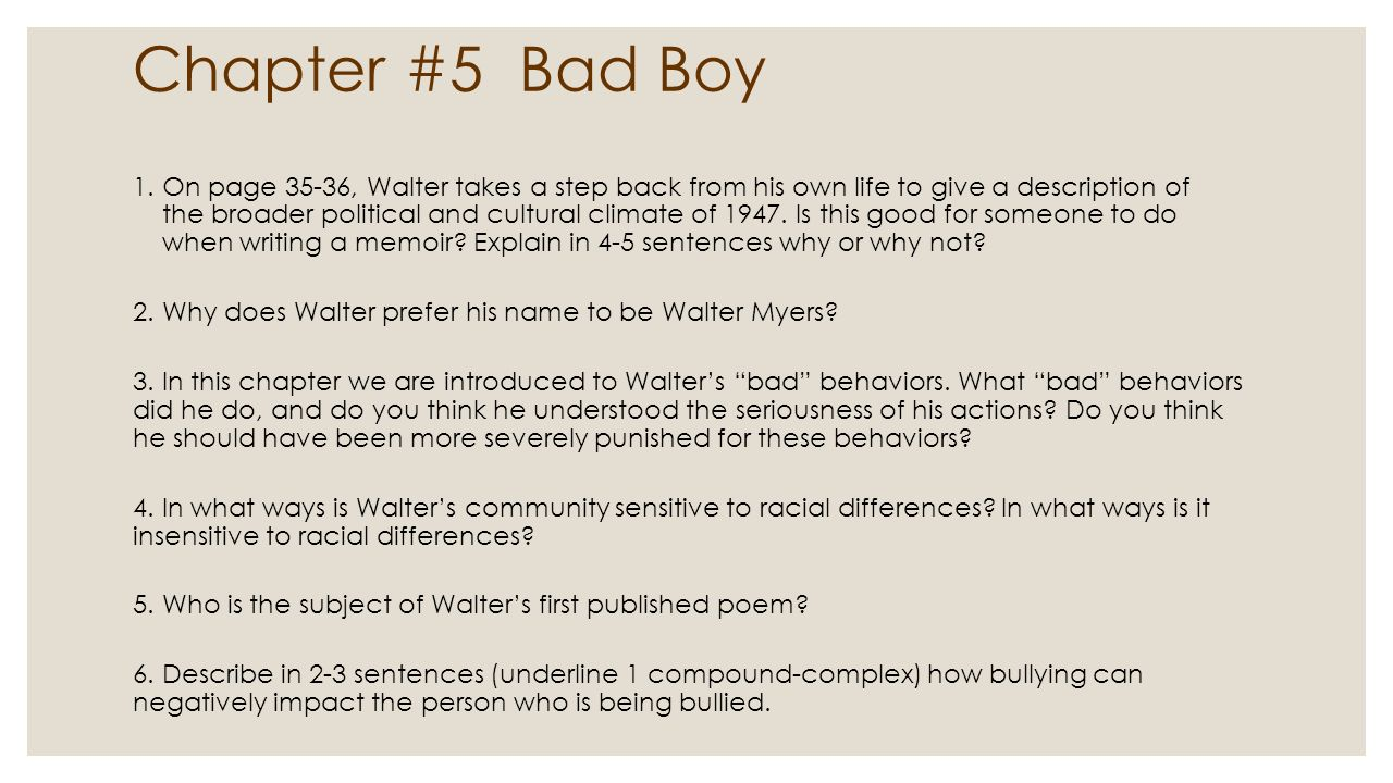 unit bad boy by walter dean myers ppt  33 chapter 5 bad boy