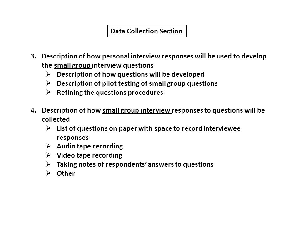 methodology research paper interview Assignment 5: qualitative research assignment description many applied research methods were derived from experimental  ☐ prepare general interview protocol.
