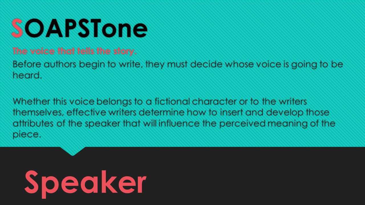 Speaker SOAPSTone The voice that tells the story.