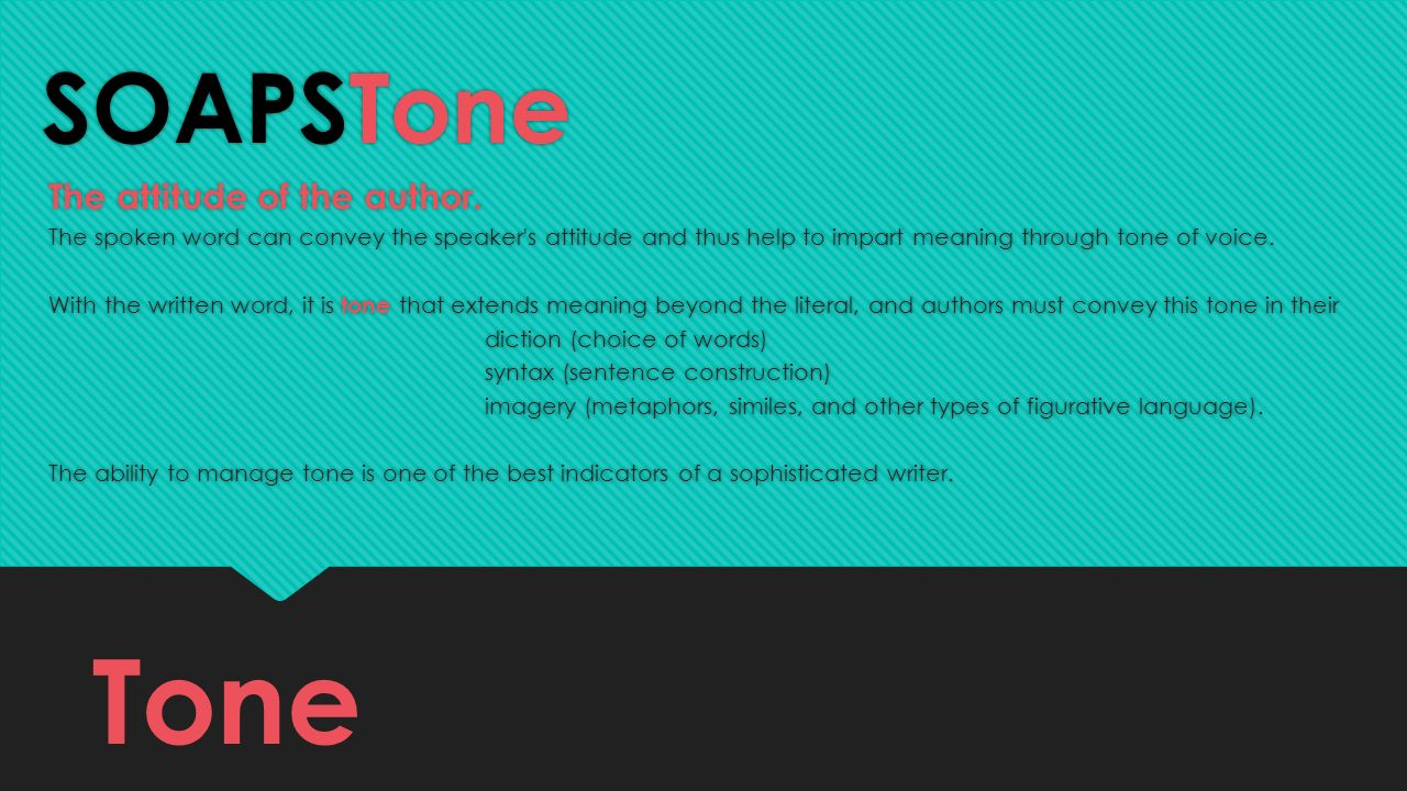 Tone SOAPSTone The attitude of the author.