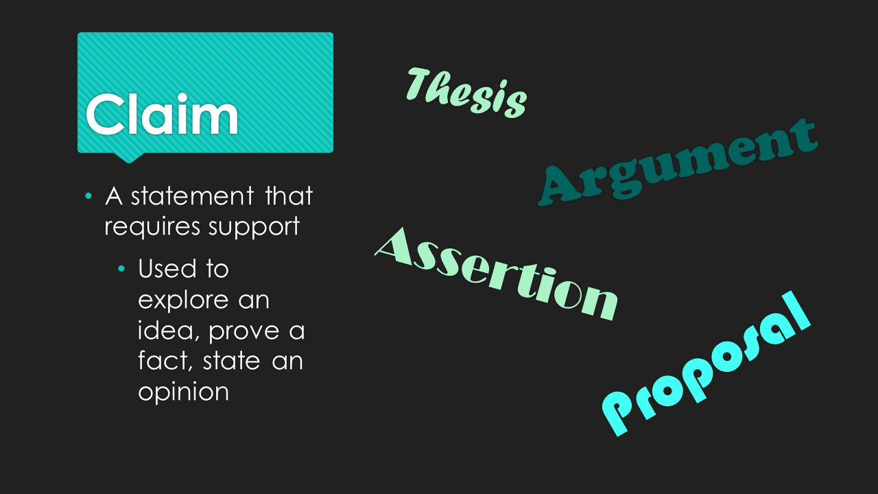 Proposal Claim Argument Thesis Assertion