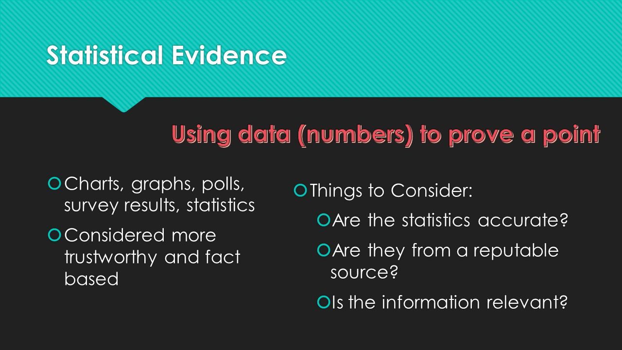 Using data (numbers) to prove a point