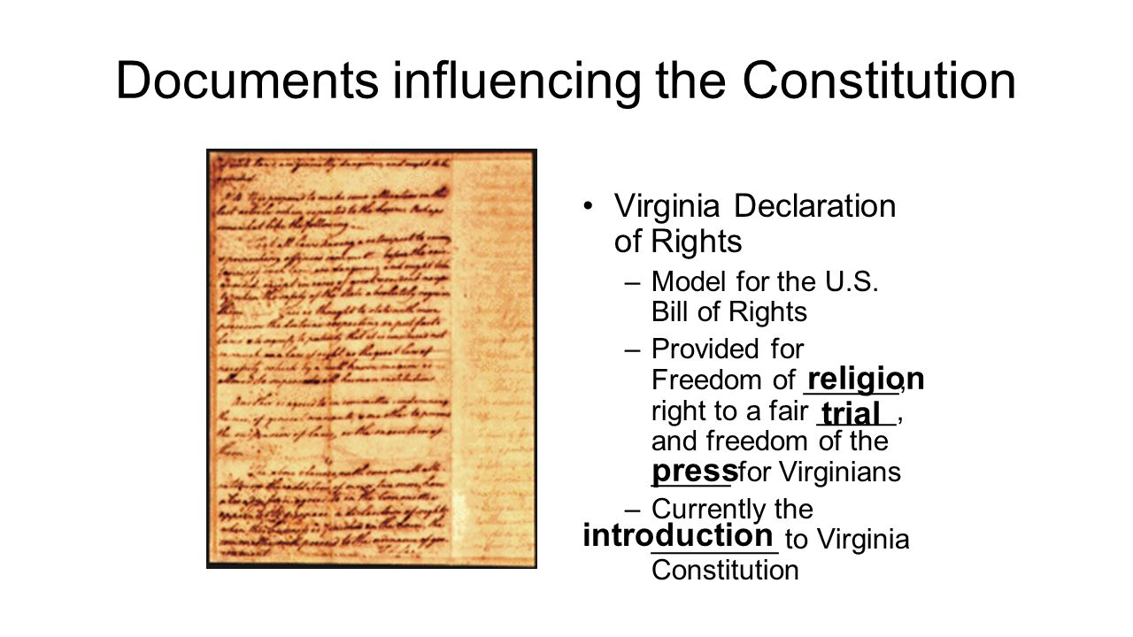 Documents influencing the Constitution