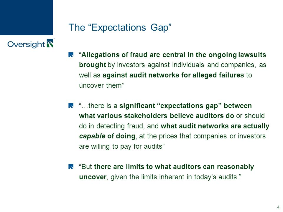 the audit expectations gap essay The gap between the role of an auditor, as perceived by the auditor, and the expectations of the users of financial statements it may be subdivided into a.