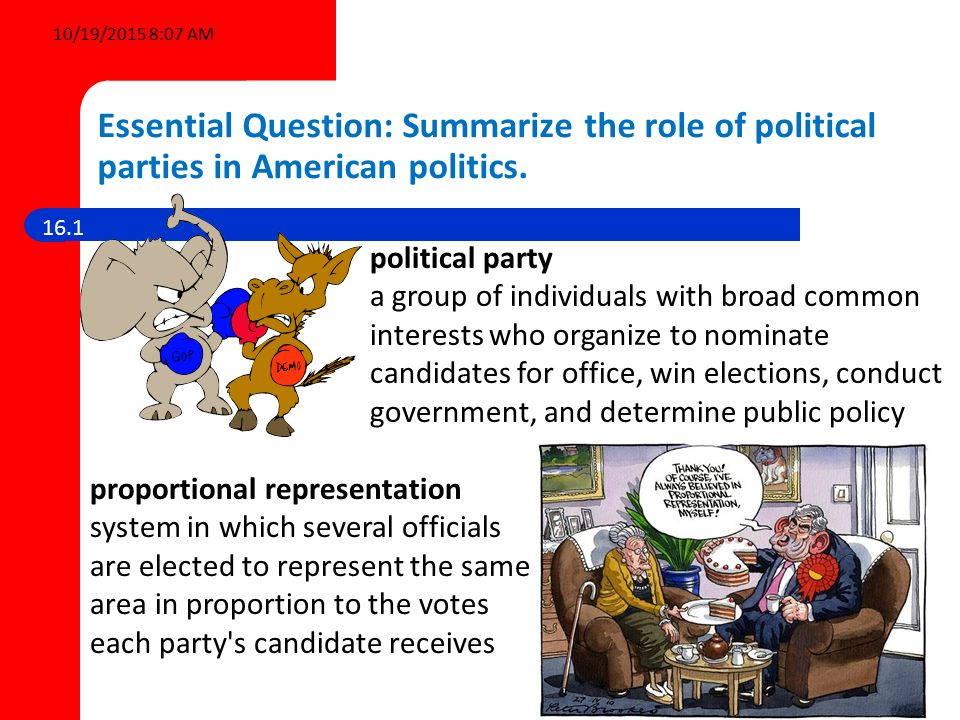 the role of political parties What role do political parties play in a representative democracy, and how  effectively are these roles fulfilled - gcse politics - marked by teacherscom.