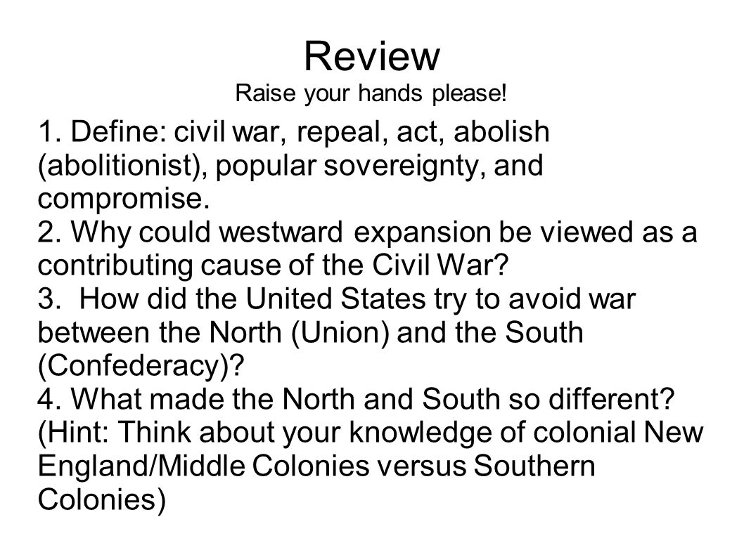an essay on the causes of the civil war north versus south The causes of the american civil war essay example the american civil war of 1861-1865 was fought between the union (the northern states) and the confederates (the southern states) under the presidency of abraham lincoln.