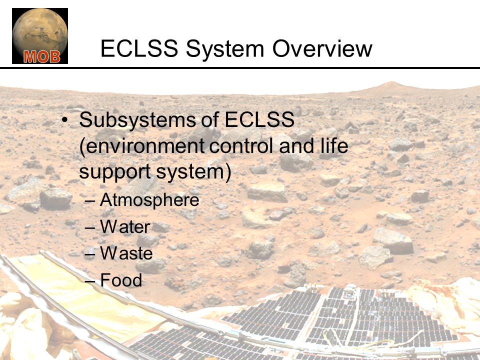 Eclss System Overview Subsystems Of Eclss Environment