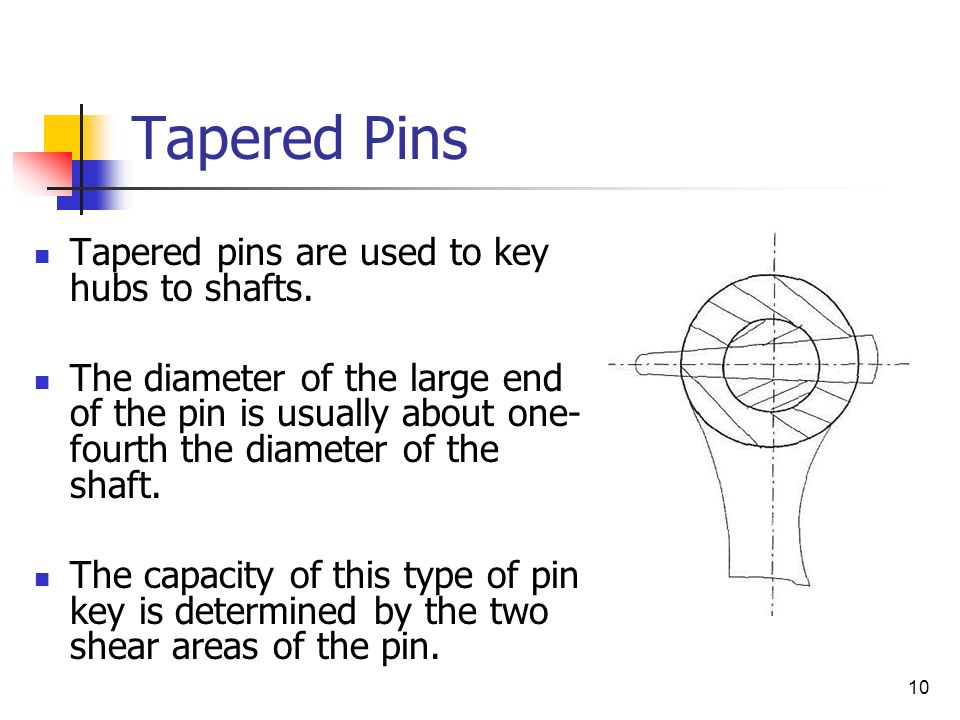 Tapered Pins Tapered pins are used to key hubs to shafts.